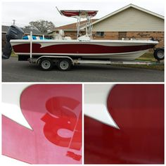 """Bust day at the lab. Boat wrap with some fresh ass candy """"TRUE BLOOD"""" film, to replace the very old and oxidized original boat finish on this Sea Chaser center console by Carolina Skiff. #pgnola, #boatwrap, #boat, #boatwrapsneworleans, #boatwrapslouisiana, #arlon, #trueblood, #candyred, #candyapplered, #glosswrap, #wrapped, #layednotsprayed, #paintisdead, #paintwrap, #beforeandafter, #arlon, #carolinaskiff, #seachaser, #bayboat"""