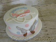 Pistols or Pearls gender reveal cake