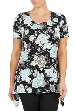 Black Floral Print Hanky Hem Neck Trim Top
