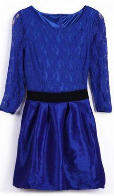#SheInside Royal Blue Contrast Lace Half Sleeve Skater Short Dress