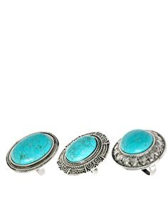 Turquoise Rings - Set of Three