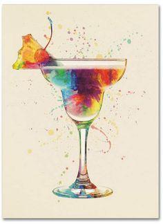 Michael Tompsett 'Cocktail Drinks Glass Watercolor VII' Canvas Art - 18 x 24 - 칵테일 - Broken Glass Art, Sea Glass Art, Stained Glass Art, Fused Glass, Framed Prints Uk, Poster Prints, Art Prints, Cocktail Glass, Cocktail Drinks