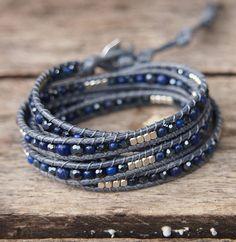 Navy blue mix wrap bracelet Boho bracelet Beadwork bracelet