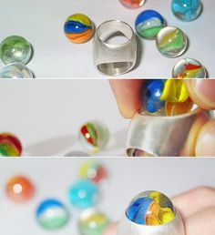 """Can you say """"marble ring?"""" Now, can you say """"marble ring"""" with your mouth stuffed full of... well, marbles? Congratulations — you can speak German! (Ich scherze nur.) This murmelring, as they say auf Deutsch, is by Switzerland's Corinne Jeisy (see also murmelring.ch). As fun to say as it is to wear."""