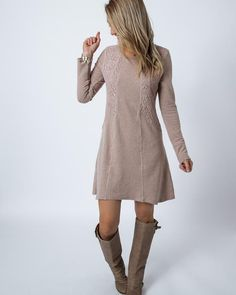 taupe lace detail sweater dress 8ad185ed9