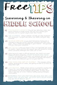 Tips to Survive and Thrive the Elementary to Middle School Transition FREEBIE