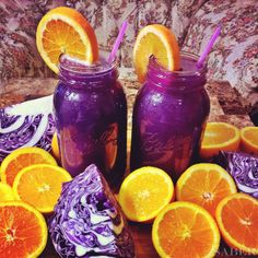 Red cabbage and orange smoothie - http://outdoorsy.gardenxl.com/2014/01/29/healthy-lightweight-snacks/
