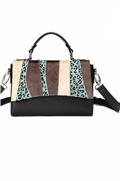 A Faux Horse Fur and Cowhide Blended Shoulder Bag