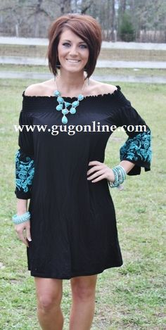 Giddy Up Glamour  Everyday Excellence Black with Turquoise Dress  $29.95