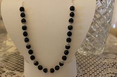 Black Glass Beaded Necklace with Silver Plated by AngeleDesignsLA, $27.00