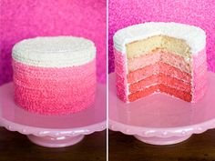 Pink ombre buttercream cake - piped five shades of pink with small star tip.