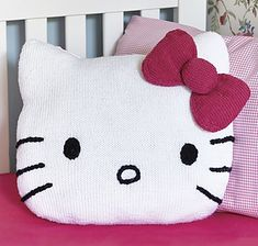 Hello Kitty! Fun Cushion by Frederica Patmore. This is an official, licensed knitting pattern.