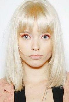 Abbey Lee Kershaw - platinum shoulder length bob with blunt bangs