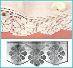 Sunshine Home Decor Filet Crochet, Crochet Borders, Crochet Diagram, Crochet Trim, Crochet Motif, Irish Crochet, Crochet Designs, Crochet Lace, Crochet Stitches