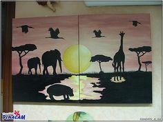 Lienzos decorados con pintura acrilica y papel decoupage. www.manualidadespinacam.com #manualidades #pinacam #madera #cuadros #lienzo