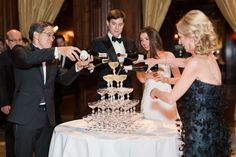 Champagne Tower at the University Club Wedding by Jessica Haley