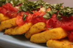 V e g a n D a d: Grilled Polenta with Fire-Roasted Tomatoes and Garlic