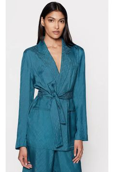Ramond Blazer by Equipment at ORCHARD MILE Smoking Jacket, Soft Colors, Hue, Going Out, Glamour, Blazer, Pretty, Model, How To Wear
