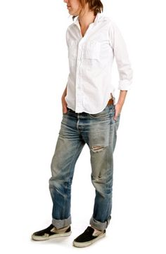 Best tomboi style. classic white shirt, well worn jeans. sneaks. My choice of casual day wear!