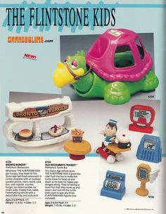 """Coleco """"The Flintstone Kids"""" Bronto Burger playset and Old Rockaways Transit toy vehicle Flintstone Kids, Captain Caveman, I Have A Secret, Getting Hungry, Preschool Toys, Childcare, Minions, Playroom, Kids Toys"""
