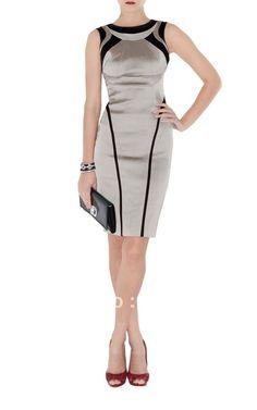 vestido elegante gris y negro