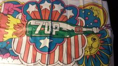 Vintage 1969 7up Uncola psychedelic tablecloth Dypold Americana Peter Max #7up