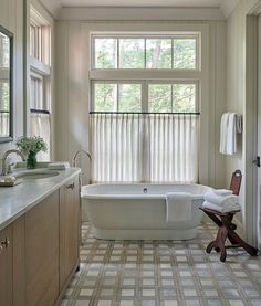 I love cafe curtains in bathrooms, they let in light and also provide privacy. Bathroom Window Curtains, Bathroom Windows, Cafe Curtains, Bath Window, Window Shutters, Beautiful Bathrooms, Modern Bathroom, Master Bathroom, Beaufort House