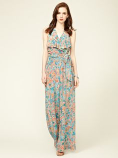 Tracy Reese Tied Silk Flutter Jumpsuit-the pattern and color combo-just beautiful