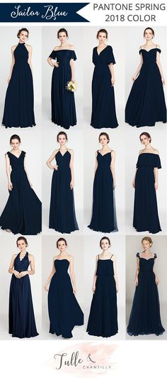sailor navy blue bridesmaid dresses pantone 2018 spring color #wedding #bridesmaiddresses #weddingdresses #weddings2018