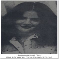 """Sandy Pontes de Miranda Corrêa. Coluna do Gil """"Gente"""" do A Crítica de 01 de outubro de 1983."""