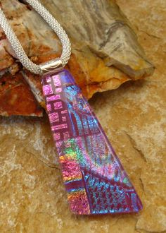Pink Fused Glass Jewelry Dichroic Jewlery Dichroic by GlassCat, $25.00