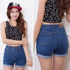 Top 5 Trends in Women's Shorts (with images) · ladycharmonline High Waisted Shorts, High Waist Jeans, Denim Shorts, Waisted Denim, Ruffle Shorts, Wide Leg, Korean Fashion Summer, Jeans For Short Women, Short Jeans