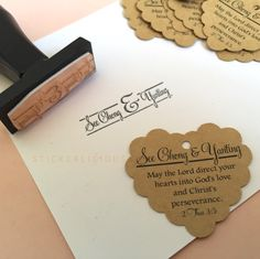 """""""Weddings are a holy convocation where God joins together a man and a woman to become husband and wife.""""  Custom wedding tags and stamp printed with bible verse. These Marriage Bible Verse Heart Stamp and Tags set consist of 1.75"""" wide heart shape Kraft tags and names stamp. The main design is the bible verse and the big & for the union."""