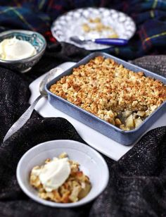 Pear and Five-Spice Crumble with Ginger Creme Fraiche #glutenfree #grainfree #ArtofEatingWell