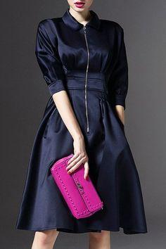 Elegant A Line Flat Collar 3/4 Sleeve Dress For Women