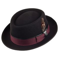 8c863d94aec69 Stacy Adams Crushable Wool Felt Pork Pie Hat - Black from Village Hats.  Pork Pie