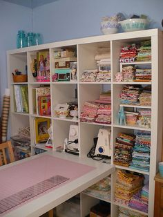This is what I have in my sewing room.  I prefer to have all my stuff hidden in cubbies.