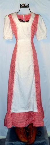 Vintage Retro 1970's Gunne Sax style red gingham long maxi dress