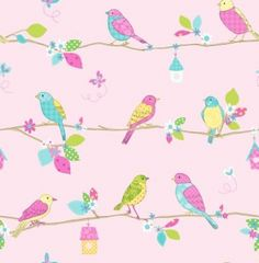 Garden Birds (DL30700) - Albany Wallpapers - A fun kids wallcovering with sketches of garden birds sitting on a line with different print pattern designs on them. Showing on a pale pink background. Co-ordinating border available. Please request a sample for true colour match.