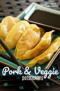 Pork and Veggie Potstickers are my favorite Chinese food. The seasonings in the filling are incredible and they come out restaurant-quality every time! I love potstickers but for some reason I was alw Pork Recipes, Asian Recipes, Cooking Recipes, Asian Foods, Cooking Stuff, Chinese Recipes, Rice Recipes, Recipies, Ethnic Recipes