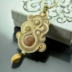 Soutache Pendant Petit Madame, Beige Creamy Pendant, Moonstone Pendant, Statement Necklace, Creamy Bege Ethnic Pendant, Collier Soutache by OzdobyZiemi on Etsy