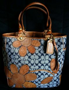 COACH Ltd BLEECKER FLORAL DENIM SIGNATURE C LG TRAVEL MULTI TOTE BAG PURSE RARE!