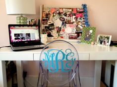 why not put your monogram on a lucite ghost chair?