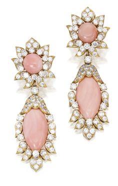 Pair of 18 Karat Gold, Coral and Diamond Pendant Earclips, Van Cleef & Arpels, Via Sotheby's.