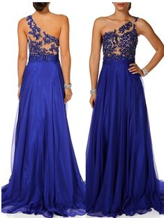 Royal Blue Long Chiffon Prom Gowns 2015 A-line One Shoulder Backless Appliques ,Sexy Evening Dresses on Luulla