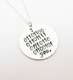 I love you in Binary Code Necklace Personalized by RobertaValle