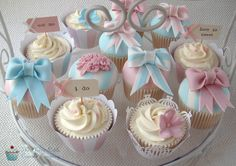 Pale Pink and Blue Wedding Cupcakes