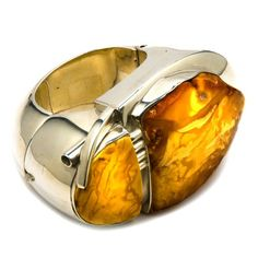 $2,596 : One of a Kind Butterscotch Baltic Amber Sterling Silver Museum Collection Huge Piece of Art Bangle 6.5''