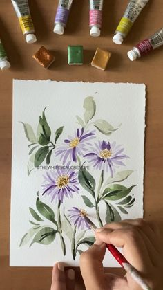 Watercolor Art Lessons, Watercolor Paintings For Beginners, Watercolor Art Paintings, Flower Paintings, Watercolor Drawing, Watercolor Cards, Watercolours, Watercolor Flowers Tutorial, Floral Watercolor