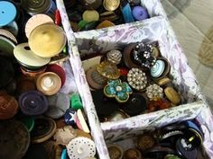 Old Buttons. I'm always looking for old buttons boxes to sort thru; takes me back to my childhood. I have a basket I toss one of each pretty, unusual, or neat design buttons into.